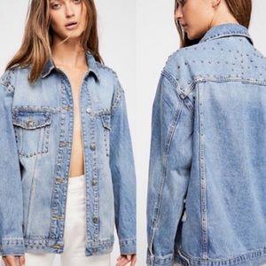 Free People Studded Denim Jean Trucker Jacket NEW